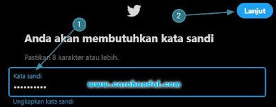 Cara Membuat Akun Twitter, masukan kata sandi baru