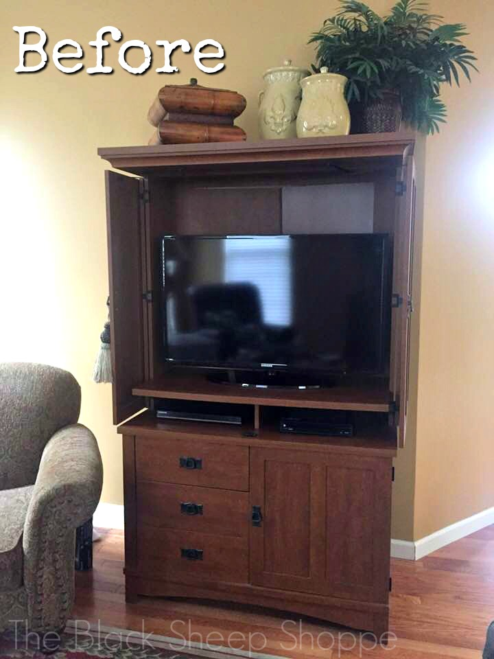 TV Armoire with bat wing doors open