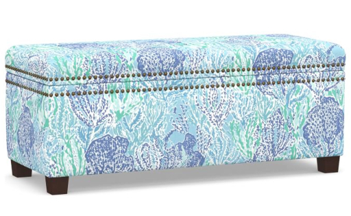 Coastal Upholstered Storage Bench Shore Design Lilly Pulitzer