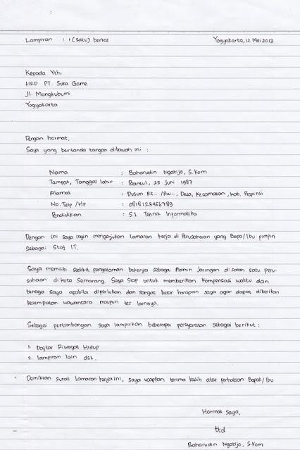 Contoh Surat Lamaran Kerja Tulis Tangan (via: mpssoft.co.id)