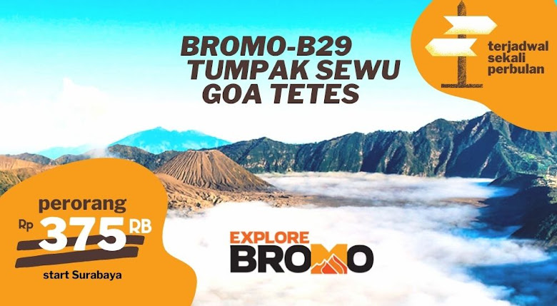 open trip bromo puncak B29/P30 Air Terjun Tumpak Sewu dan Goa Tetes