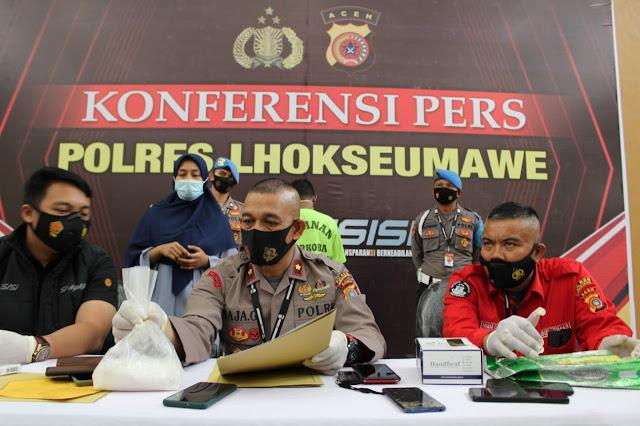 Polres Lhokseumawe Gelar Konferensi Pers Pengungkapan Kasus Setengah Kilogram Narkotika