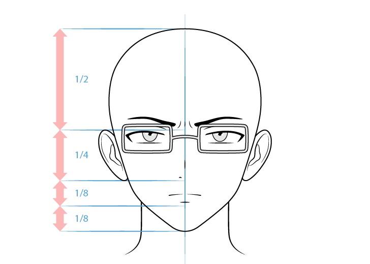 Karakter intelektual pria anime yang bersangkutan menggambar wajah