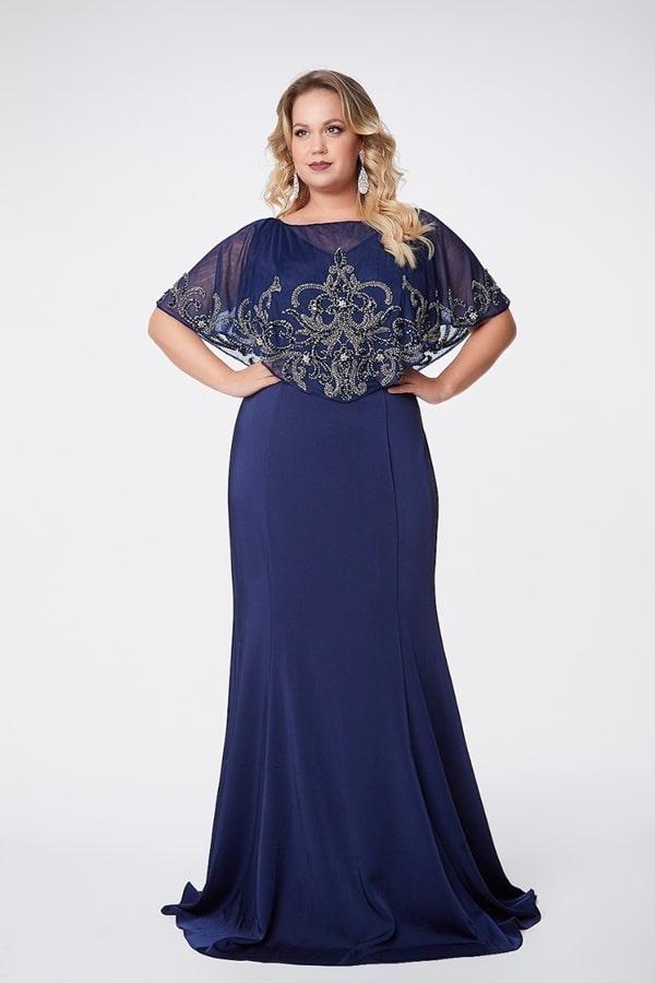 vestido longo azul marinho para mãe dos noivos