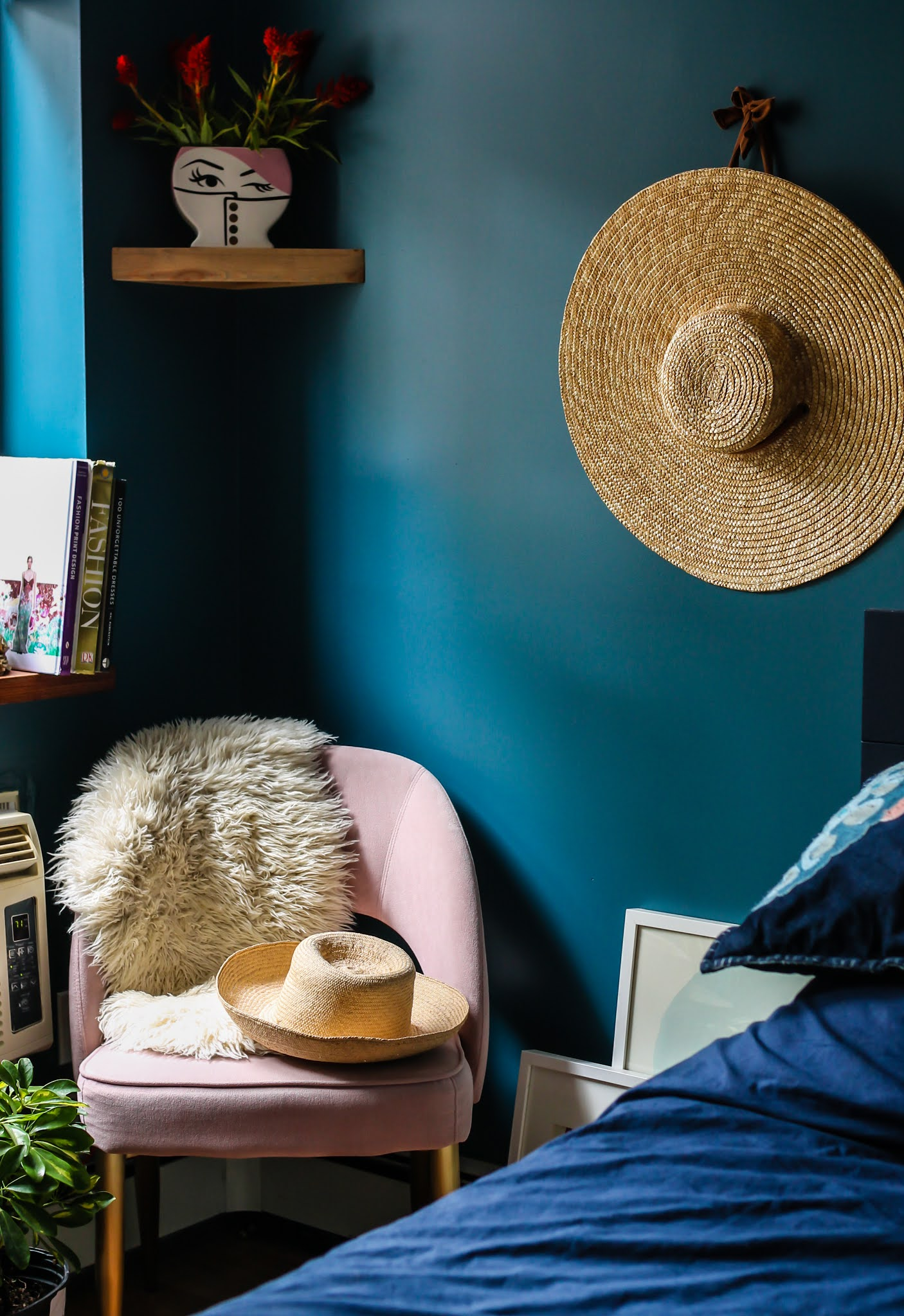 Teal and Pink Decor Ideas // Clare Deep Dive Paint // Clare Goodnight Moon Paint //  Teal Bedroom // Navy Furniture // Green Blue Wall Paint // Deep and Moody Bedroom Inspo // Dark Blue Bedroom Inspo // Blue Bedroom Ideas // Teal Bedroom Ideas // Jeweltone Bedrooms // Jeweltone Bedroom Inspiration // Jeweltone Bedroom Inspo // Boho Bedroom Ideas // Plant Filled Bedroom // How To Paint Ikea Furniture // Paint Your Ikea Brimnes Wardrobe // Ikea Brimnes Hack // Easy Ikea Hacks // Ikea Wardrobe Hack // Pink and Teal Decor Ideas // Pink and Teal Bedroom // Teal and Pink Home Decor