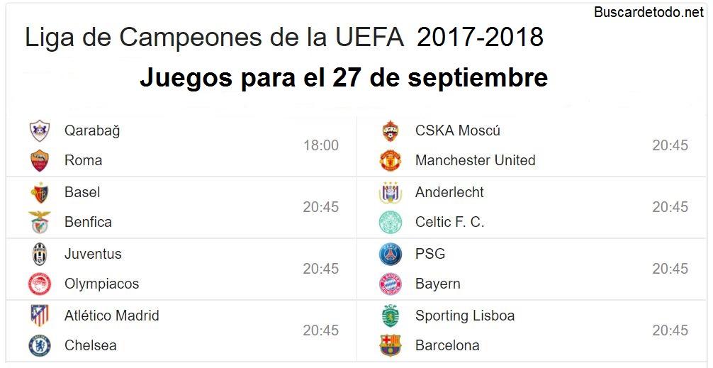 4- Calendario de juegos de la Champions League 2017-2018. Juegos de la Champions League el 27 de septiembre 2017