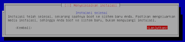 Instalasi Debian - Instalasi selesai