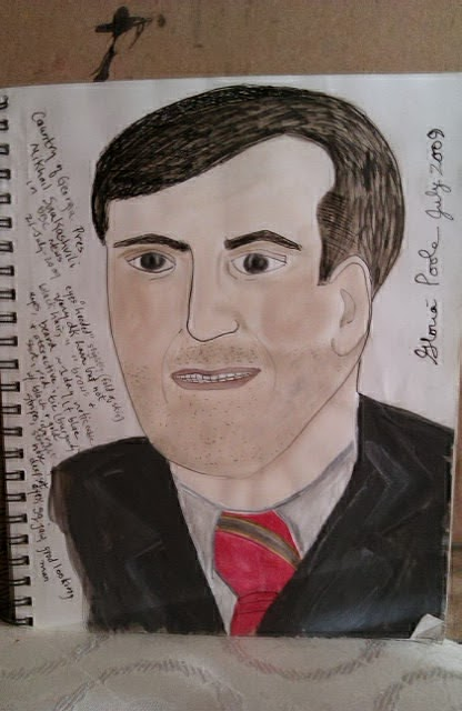 Then Pres of Russia Medvedev sketch by Gloria Poole