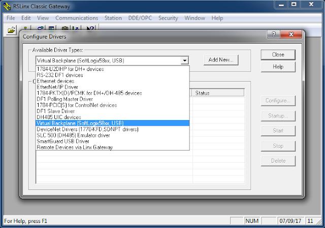 Seleccionar driver de comunicación RSLinx Classic