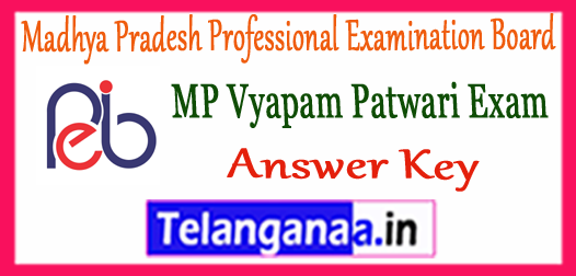 MP Vyapam Patwari Madhya Pradesh Professional Examination Board Answer Key 2017