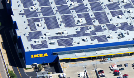 Solar panels installed on the rooftop of IKEA warehouse
