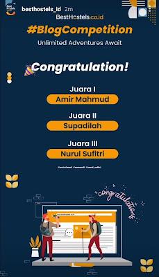 Juara Ketiga Lomba Blog BestHostels Indonesia