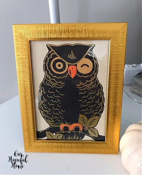 winking owl gold frame art