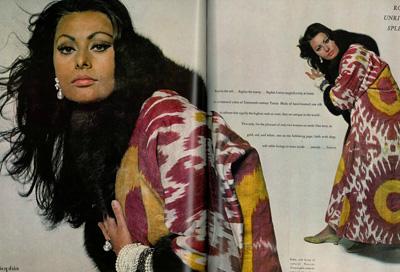 famous people wearing ikat textiles, uzbekistan ikat silk textiles, small group textile craft tours central asia