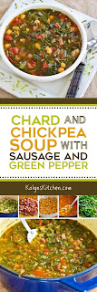 Chard and Chickpea Soup with Sausage and Green Pepper found on KalynsKitchen.com.