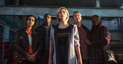 The 12th Doctor and her friends; photo from hollywoodreporter.com