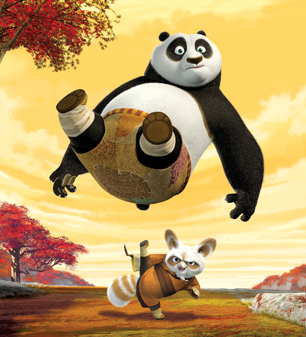 Po getting kicked in Kung Fu Panda 2008  movieloversreviews.filminspector.com