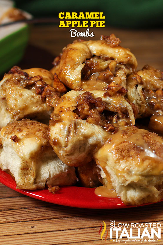 Caramel Apple Pie Bombs on a plate