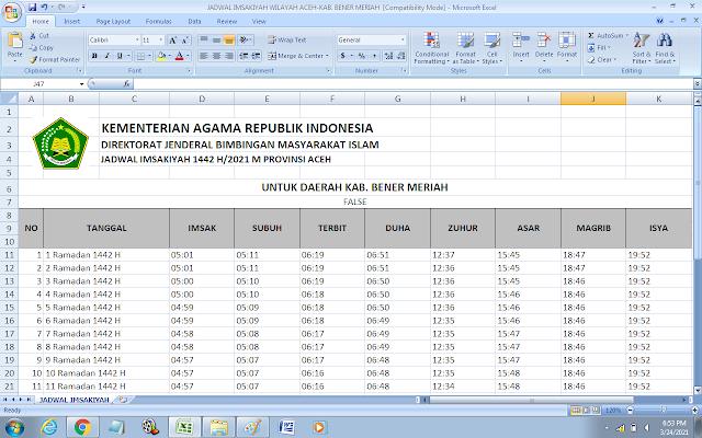Jadwal Imsakiyah Ramadhan 1442 H Kabupaten Bener Meriah, Provinsi Aceh