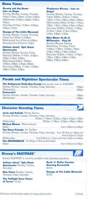 Back Disney MGM Studios Times Guide November 28-December 4 2004