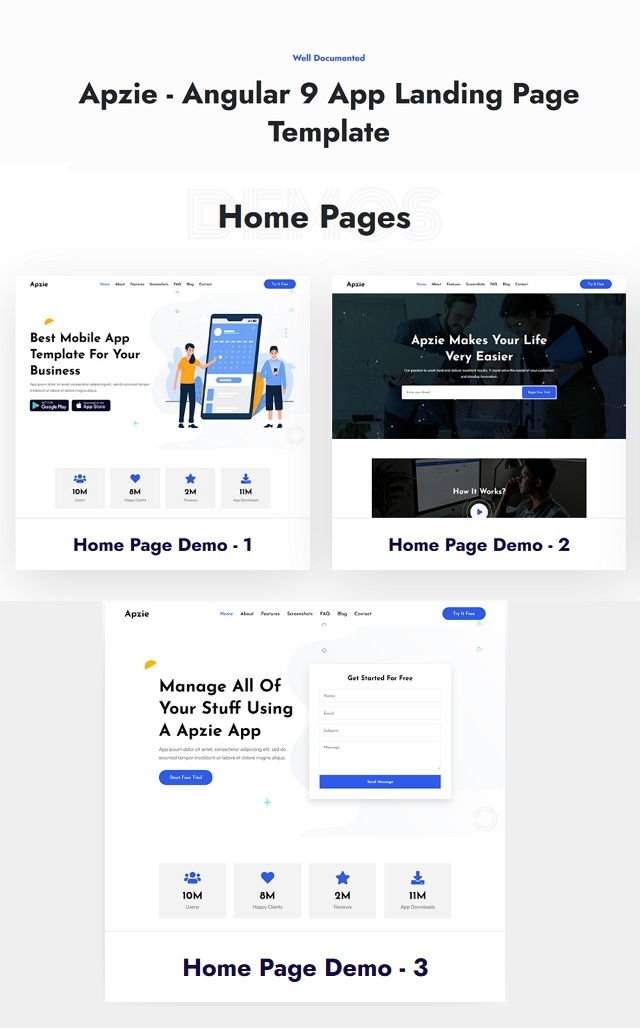 Angular App Landing Page Template