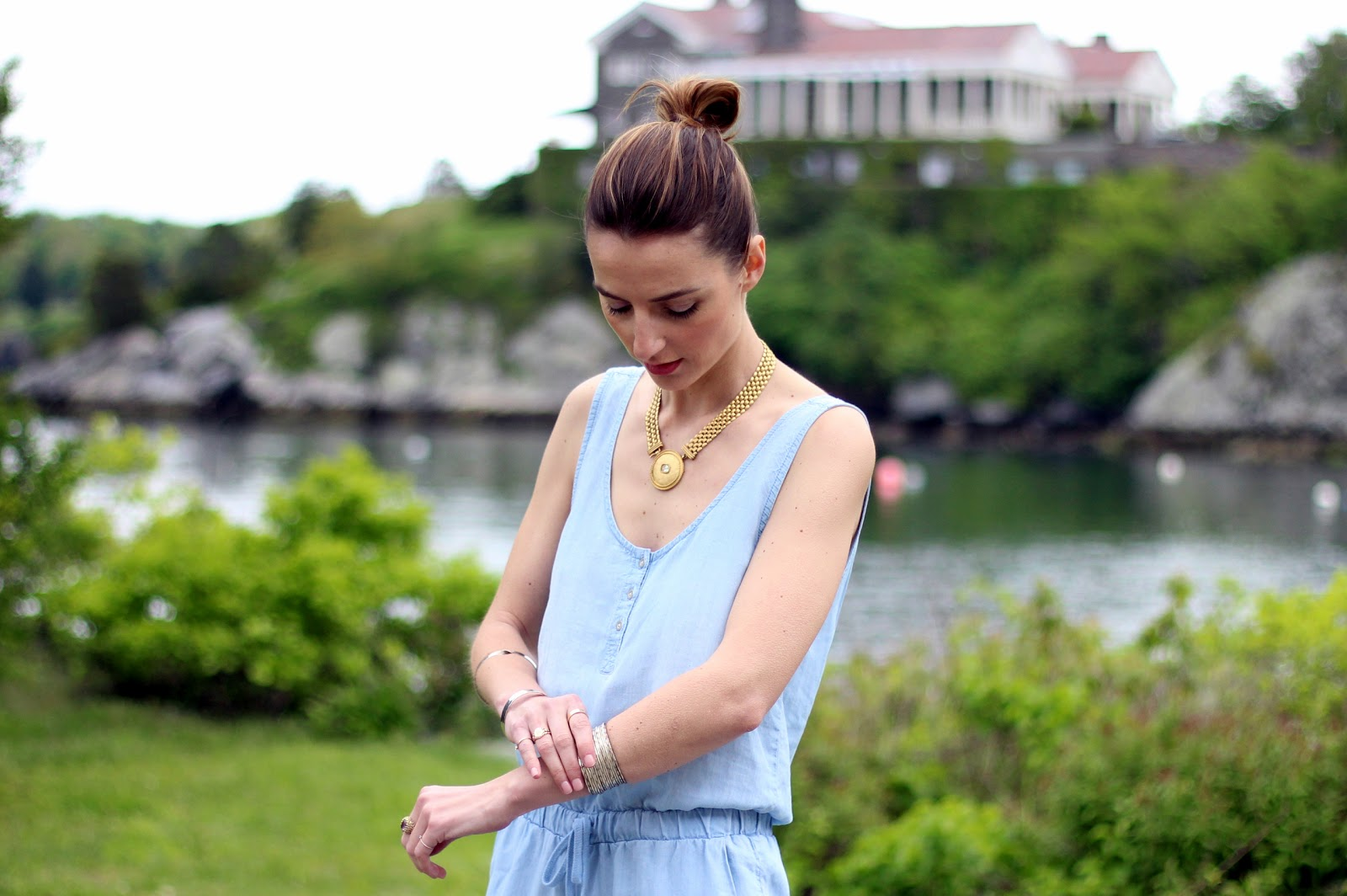 Jess Ann Kirby, Prosecco and Plaid, chambray jumpsuit, yosi samra cambelle flats, chicwish sweater