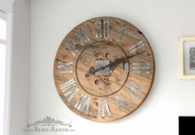 Wood Spool Top Clock, Bliss-Ranch.com