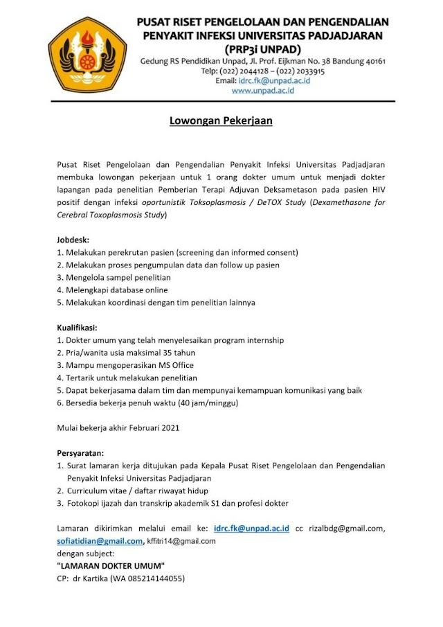 Loker Dokter Untuk Penelitian Pusat Riset Pengelolaan dan Pengendalian Penyakit Infeksi Universitas Padjajaran(PRP3i UNPAD)