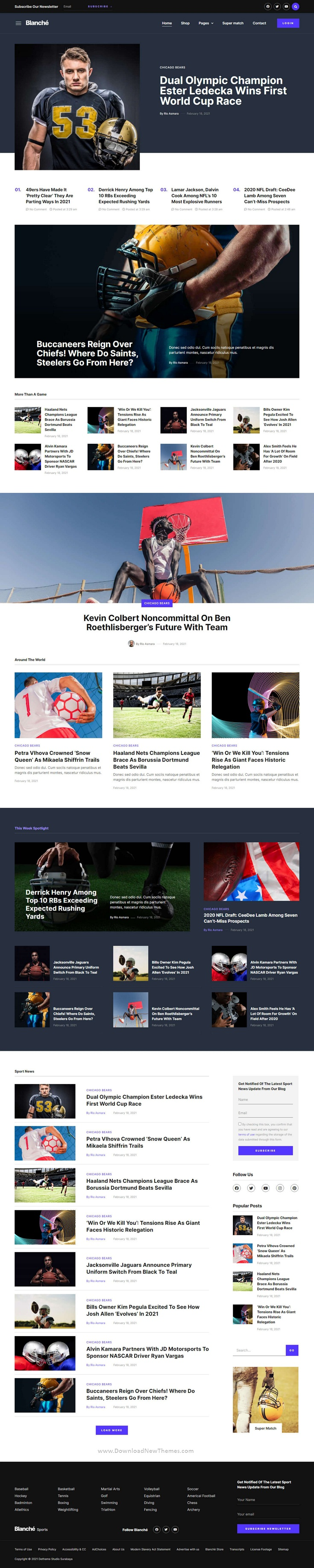 Sports Blog and Magazine Elementor Template Kit