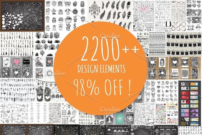 CreativeMarket 2200++ Design Elements 1101065