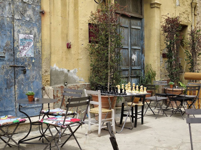 One Week in Cyprus itinerary: Old Town Lemesos alleyway and chess set