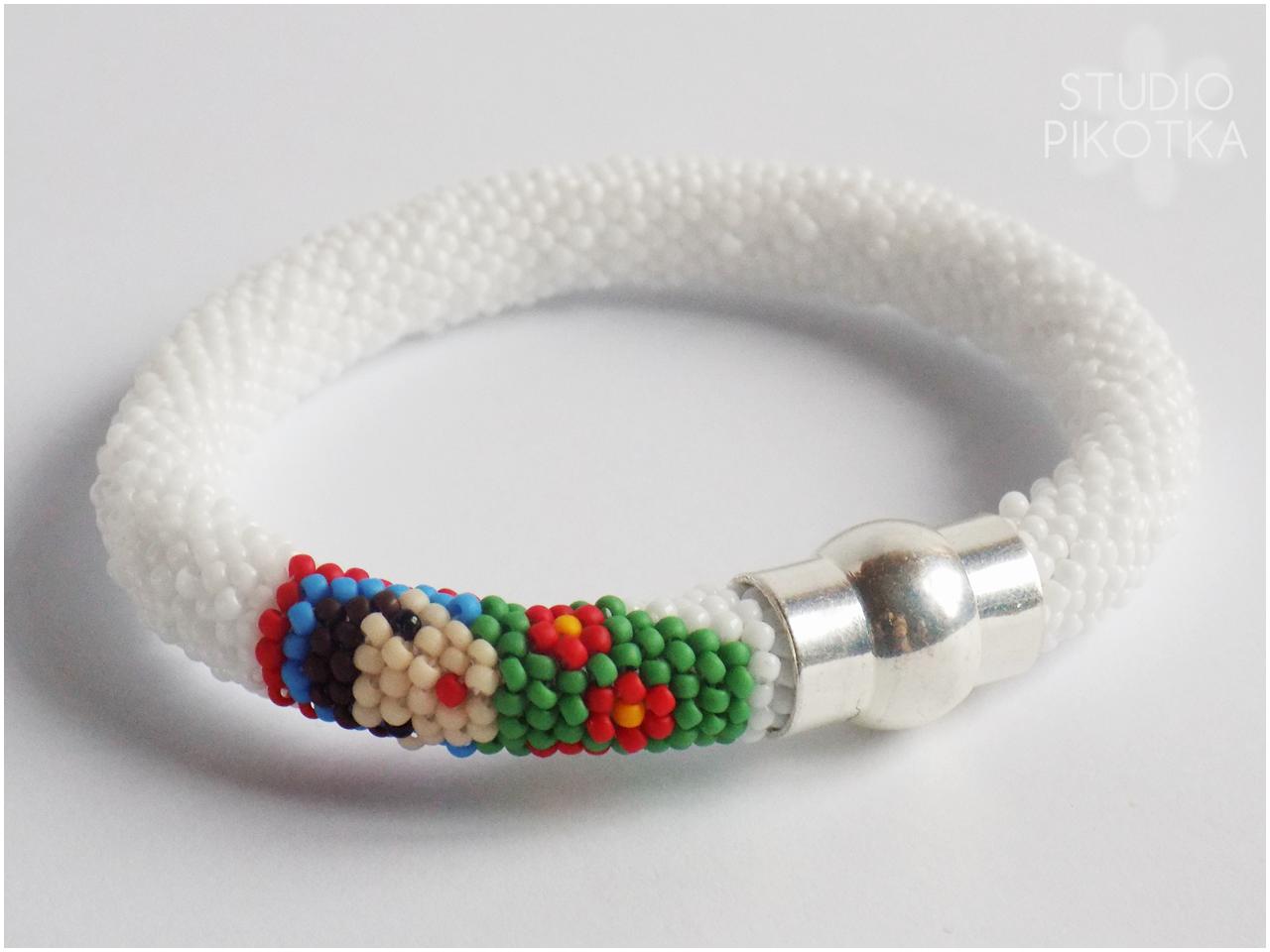 bransoletka, biżuteria, handmade, rękodzieło, ukośnik, koraliki toho, matrioszka, bracelet, jewellery