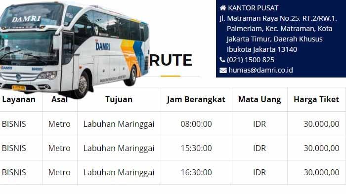 Jadwal Damri Metro Labuhan Maringgai : PP Lampung Timur