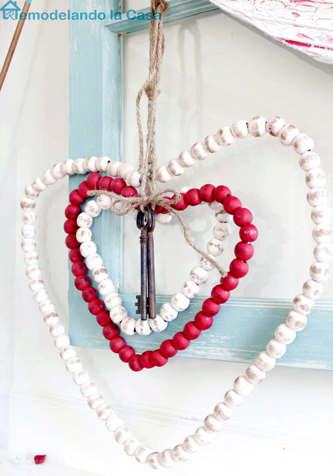 Beaded hearts on old window