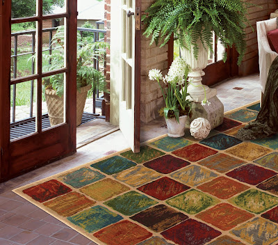 Bright squares add color and pattern to this area rug.