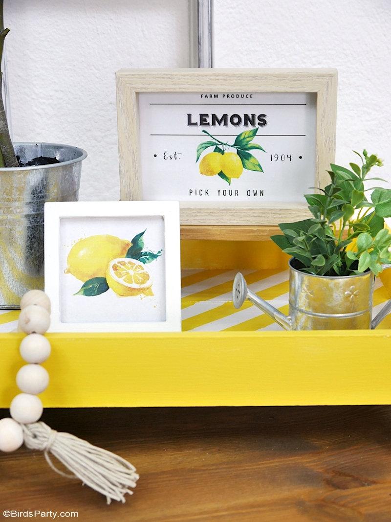 Décor DIY sur le Thème Citron  - des projets d'artisanat faciles pour vous aider à décorer votre maison pour la saison estivale ou votre fête cet été! by BirdsParty.com @birdsparty #citron #decoration #decormaison #diy #bricolage #tableestivale