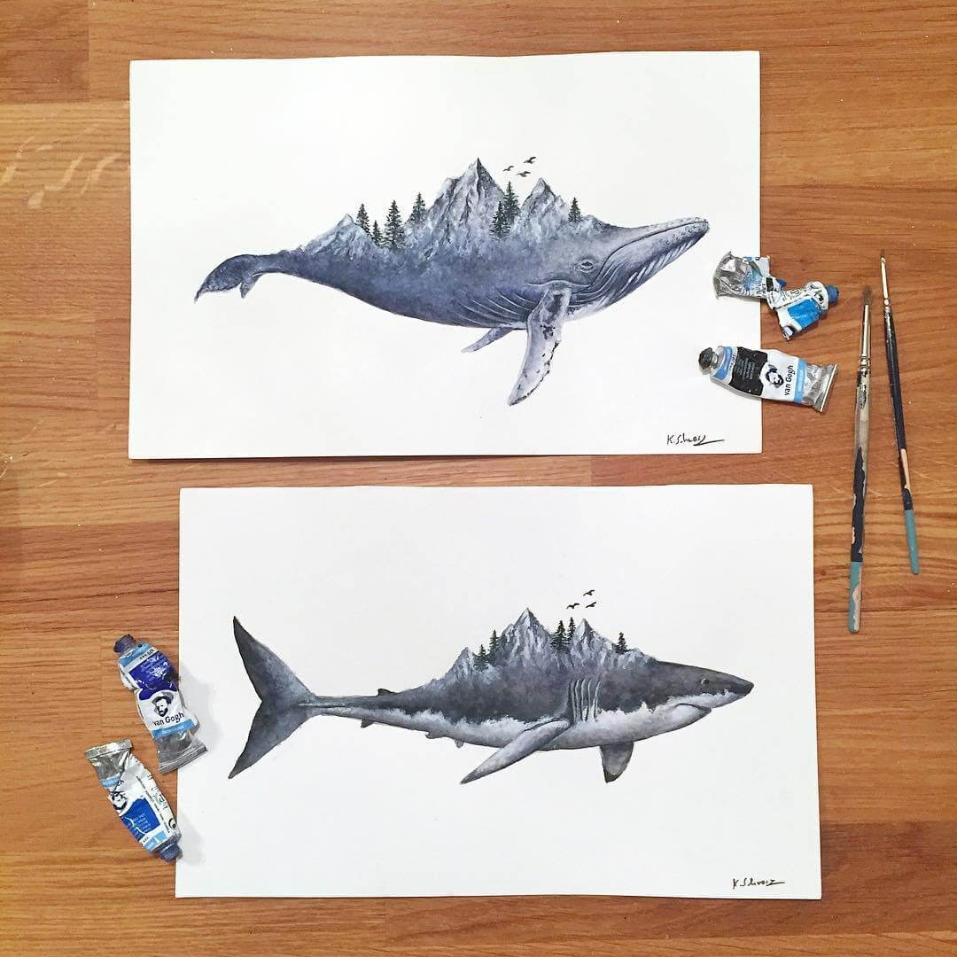 04-Whale-and-Shark-K-Schwarzoviously-Wildlife-Animal-Paintings-www-designstack-co