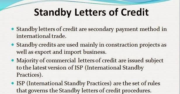 Finance To Finance, Unconfirmed and Standby Letter of Credit