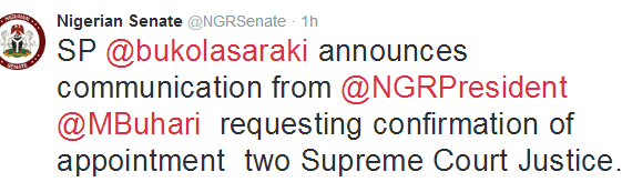 Buhari for the confirmation of two supreme court justices