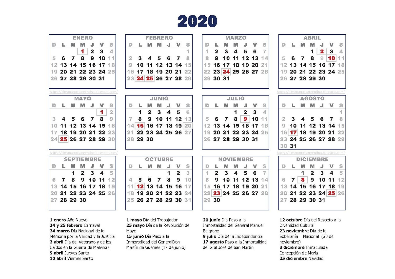Calendario Chino Embarazo 2020.Calendario Argentina 2020