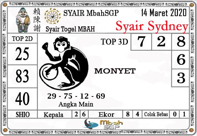 Prediksi Togel JP Sidney Sabtu 14 Maret 2020 - Syair Mbah SD