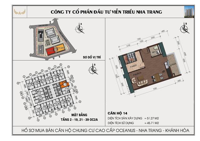 Sơ đồ căn hộ số 14 tòa OC2A Viễn Triều Nha Trang