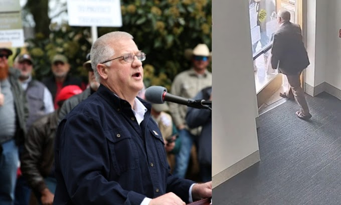 Oregon State Rep. Mike Nearman Intentionally opens state capitol door to let Trumpers in (video)