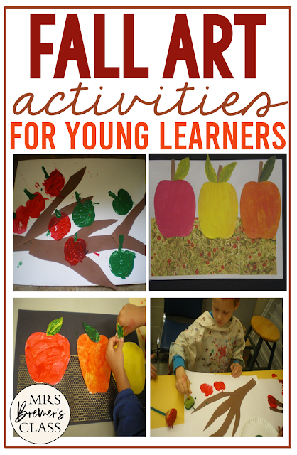 Fall apple art activities with color mixing for Kindergarten and First Grade