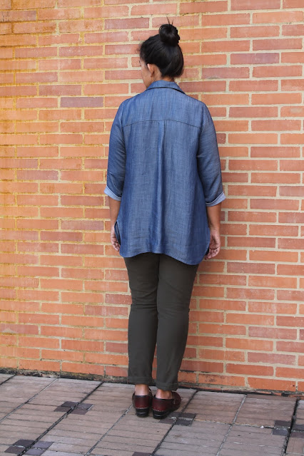 Back view of a denim tunic made from the Liesl and Co. Gallery Tunic sewing pattern.
