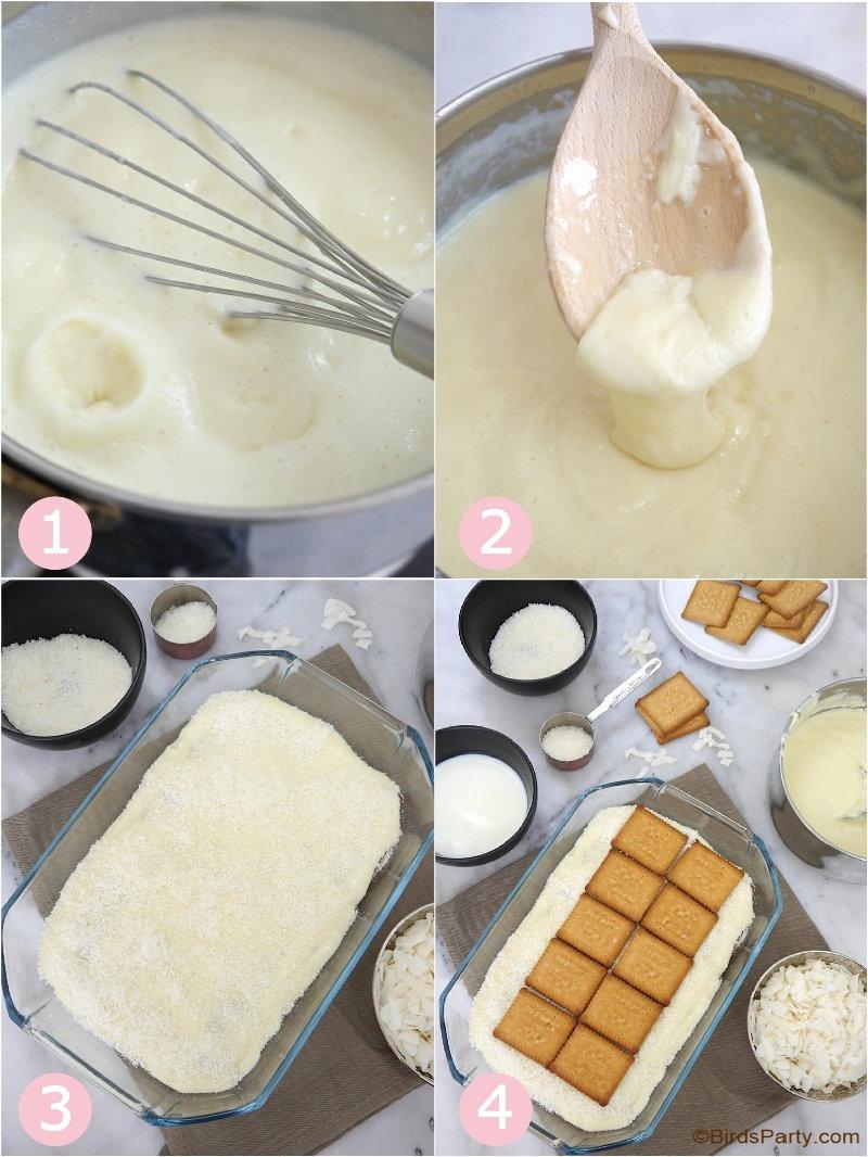Recette de Pudding à la Noix de Coco Sans Cuisson - dessert délicieux, facile et rapide à préparer pour toute occasion ou fête! by BirdsParty.com @birdsparty #recette #noixdecoco #pudding #recettesanscuisson #dessert #recettefacile