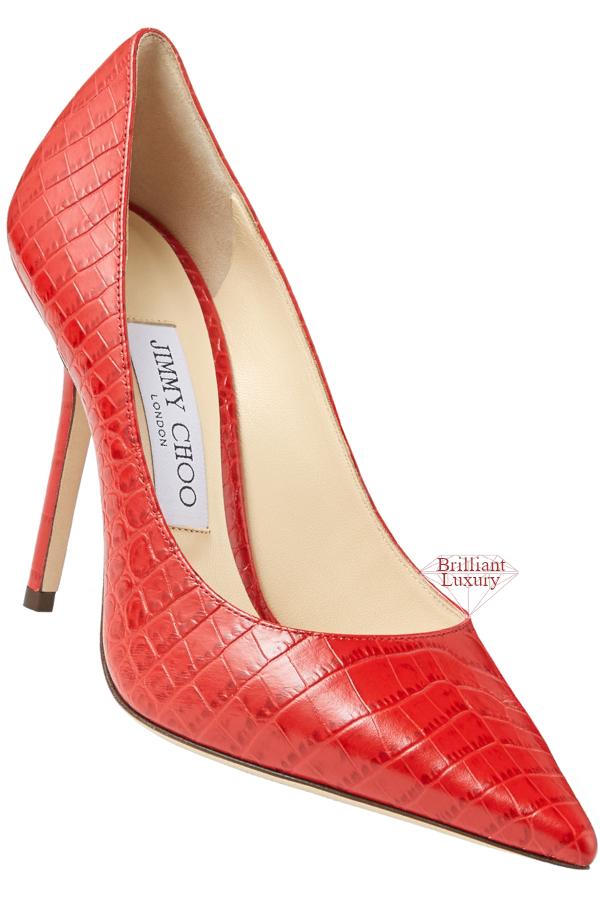 Jimmy Choo Love Red Croc-Embossed Leather Pumps #brilliantluxury