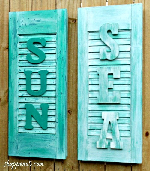 Old Shutters Made into Coastal Beach Signs