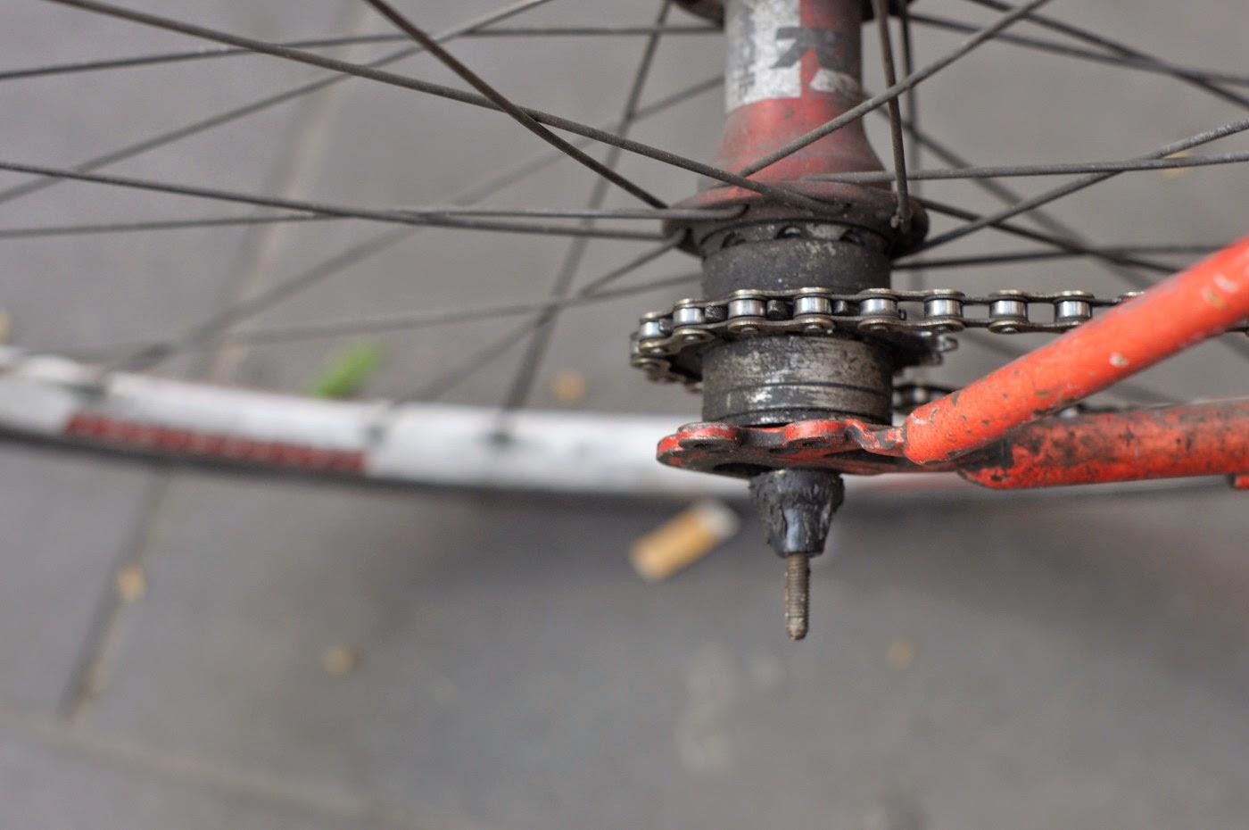 bespoke, custom, single speed, conversion, road bike, swanston st, Melbourne, Australia, decals, stickers, red, selle, miche