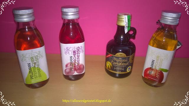 Steirischer Apfelessig, Steirischer Birnenessig, Steirischer Rotweinessig und Steirisches Kürbiskernöl